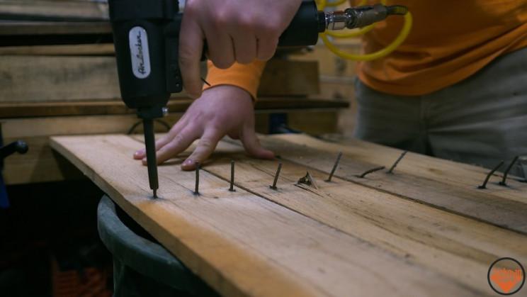 wooden vase nails