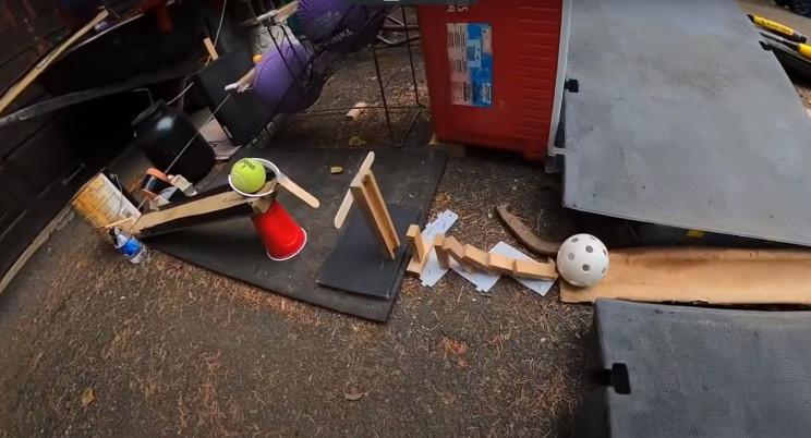 Rube Goldberg trick shot blocks