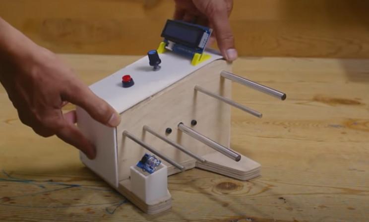 arduino label dispenser button