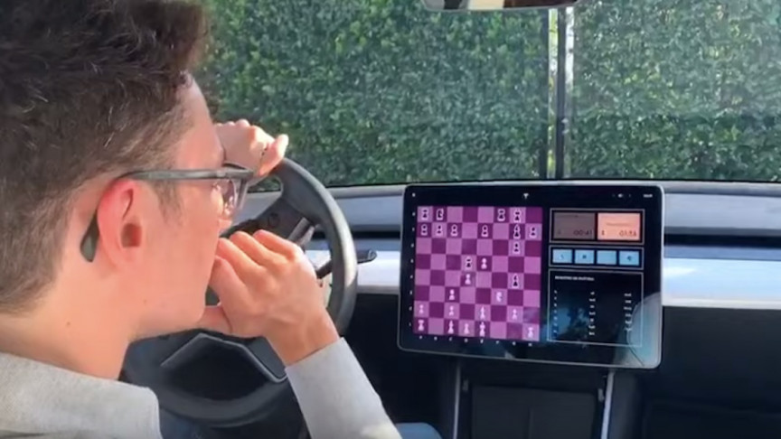 Tesla Model 3 Head to Head in Chess Match against Chess Prodigy, Fabiano Caruana