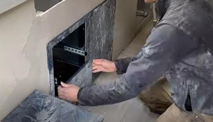 diy grill install cabinets