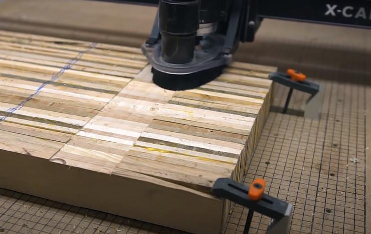 scrap wood guitar cnc flatten
