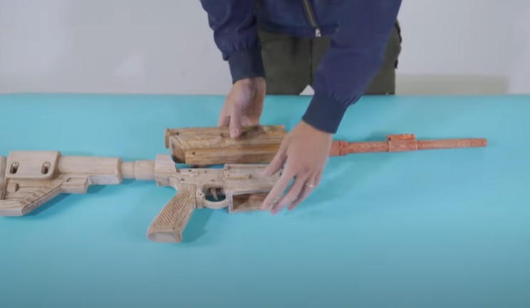 diy wooden rifle barrel in place