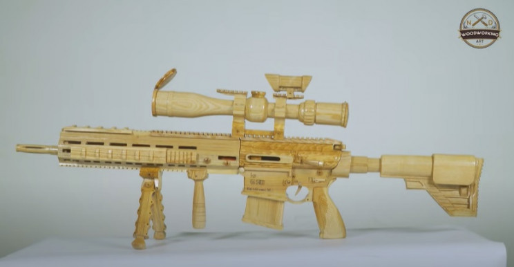 diy wood sniper rifle complete