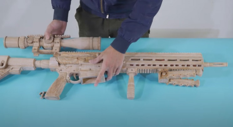 diy wooden sniper rifle final assembly
