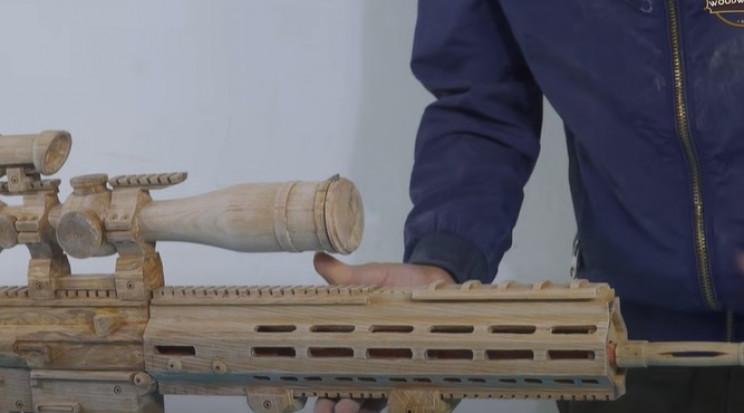 diy wooden sniper rifle final details