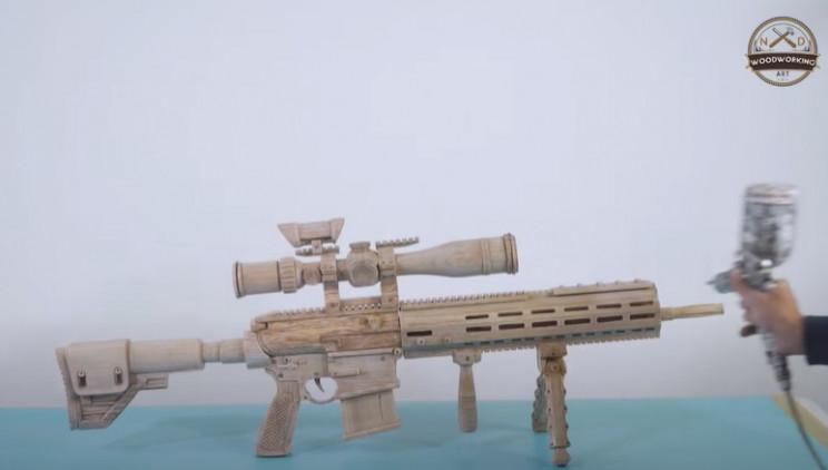 diy wooden sniper rifle spray paint