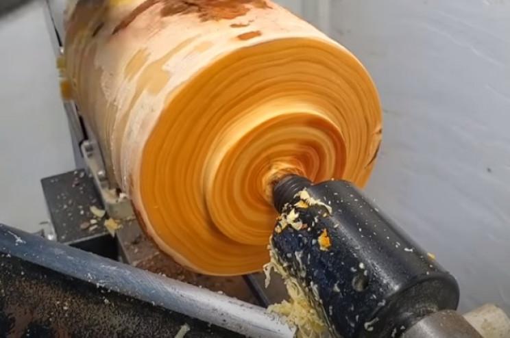 diy pine goblet begin carving