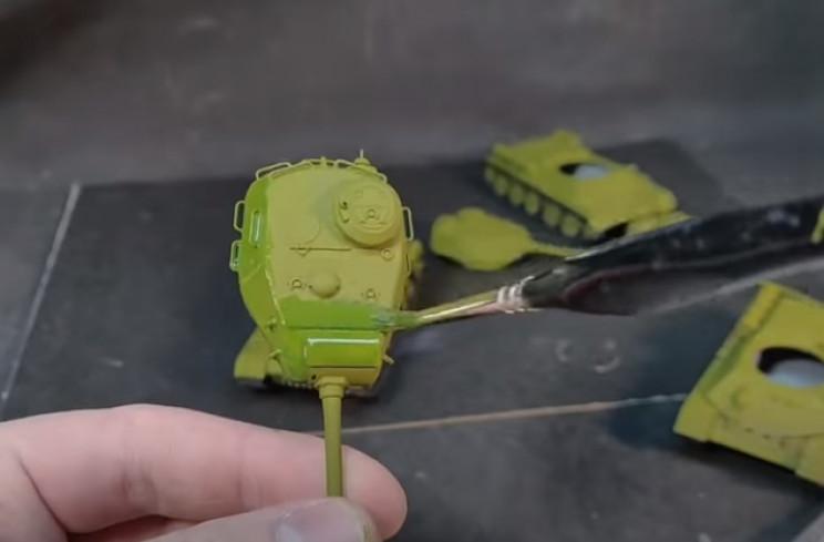 diy t-34 olive-green wash