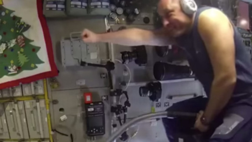 Russian 'Space Cowboy' Rides His Vacuum Cleaner While on Duty