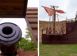 17th Century Cannon Replica Fired Against a Ship of the Period
