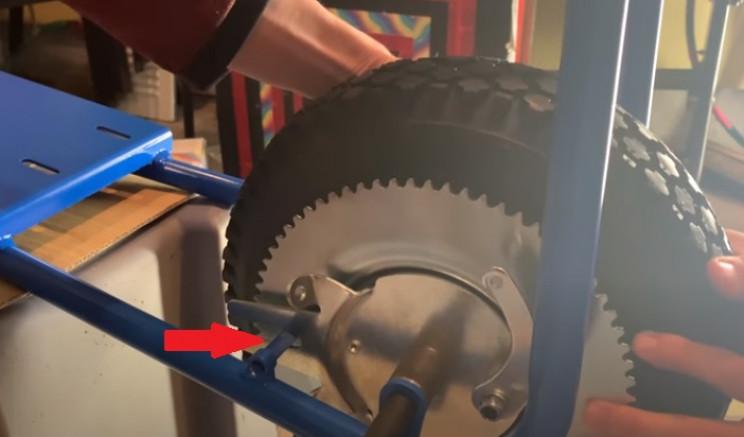 diy mini elec bike rear wheel