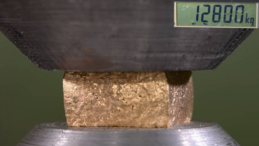 Watch Gold, White Gold and Silver Get Tested with Hydraulic Press