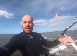 Kite Surfer Unwittingly Films a Meteor Shooting Across the Sky Behind Him