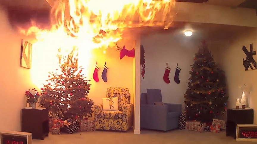 Watch How Quickly a Dry Christmas Tree Can Turn Into a Deadly House Fire