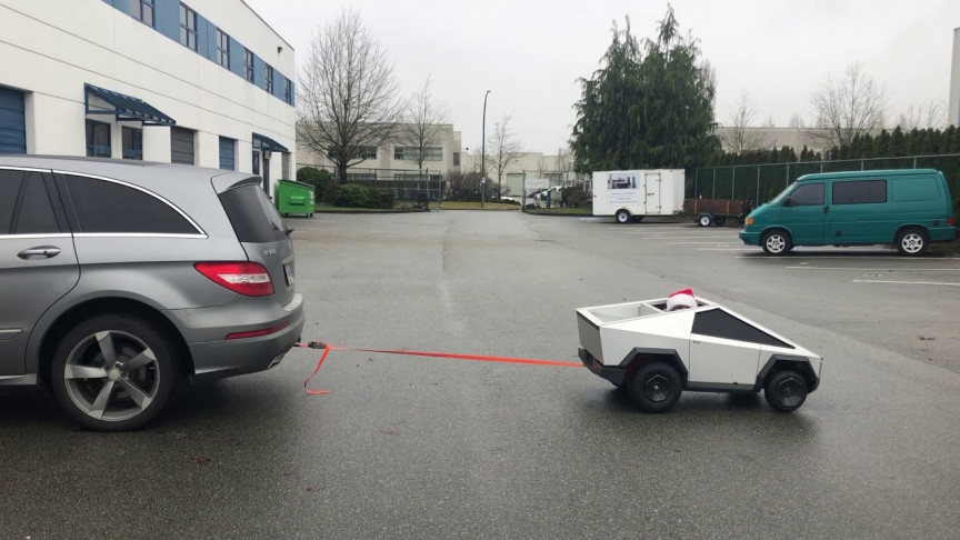 Miniature Cybertruck Pulls Mercedes Benz, Still Not Impressed?