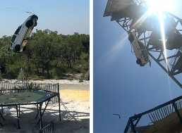 Car vs. World's Strongest Trampoline, YouTuber Drops Car from 150 Feet