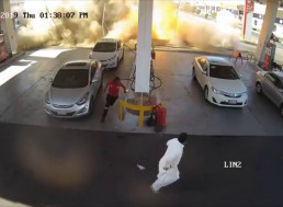 An Underground Gas Tank Suddenly Exploded at a Petrol Station in Saudi Arabia