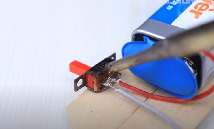 diy toy bike solder switch wires