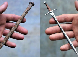 Guy Transforms a Large Rusty Nail Into a Medieval Sword