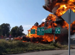 This Fuel Tanker Is Literally on Fire