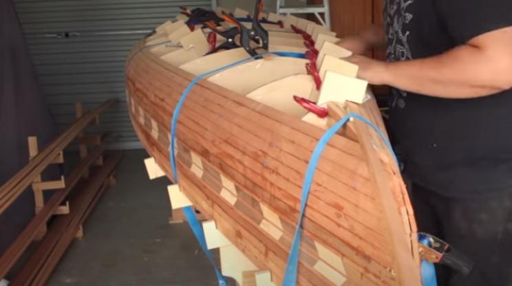 diy cedar canoe nearing keel