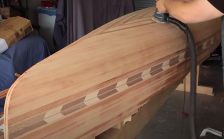 diy cedar canoe orbital sander