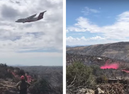 Battling a Blaze, a Fire Fighting Plane Nearly Crashes into a Mountain