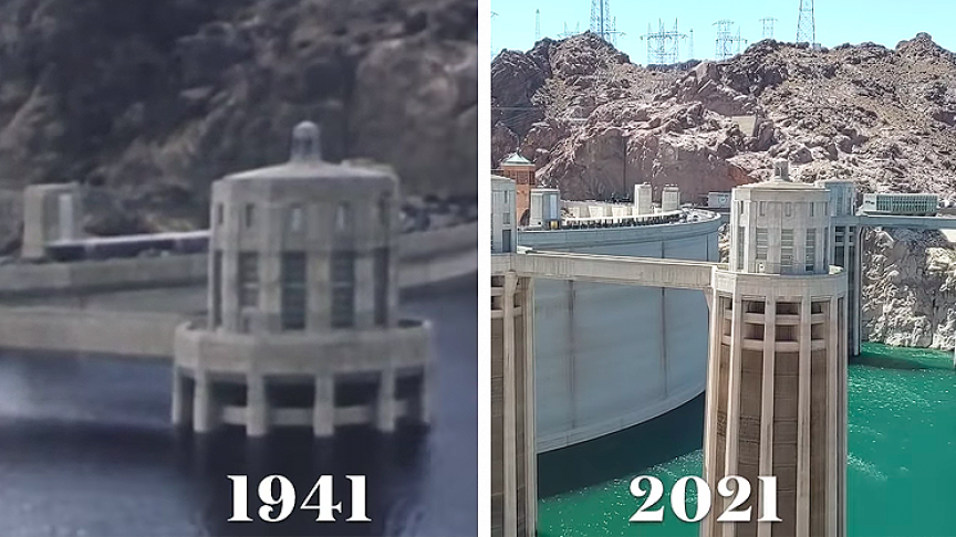 Comparison of Hoover Dam in 1941 vs. Today Reveals Stark Differences