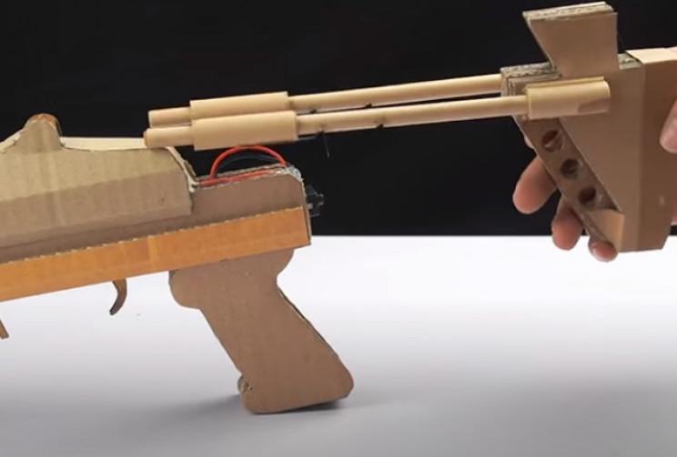 diy cardboard gun butt complete