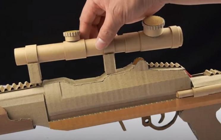 diy cardboard gun scope finished