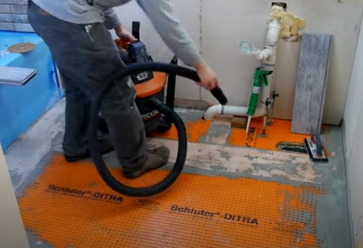 diy tiling clean floor