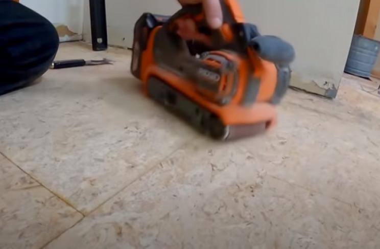 diy tiling sand old floor