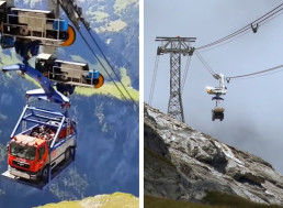 Watch a Mining Truck Being Carried to an Alpine Worksite