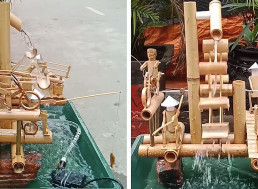 Bamboo Water Fountain Gives Life to Tiny 'Village'