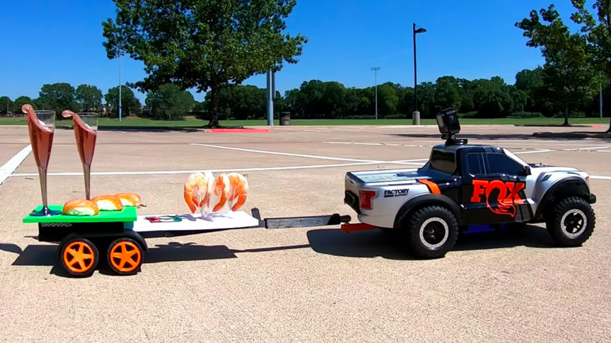 Autonomous RC Truck Delivers Food by Flinging It Around