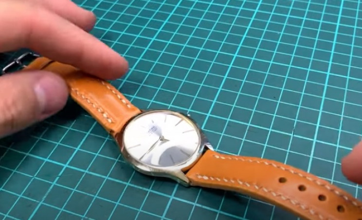 diy leather watch strap complete