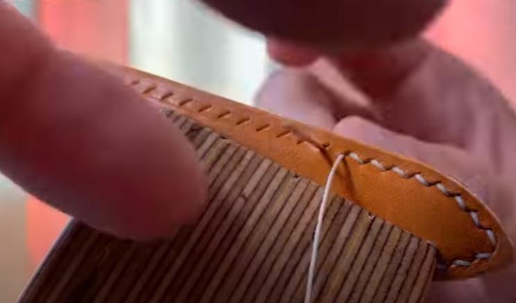 diy leather watch strap double stitch